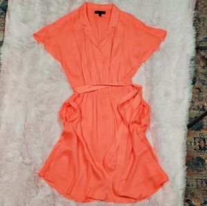 Banana Republic Coral Poly Safari Dress Sz. 4